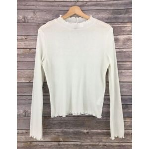 H&M White Ribbed Sheer Ruffle Mock Neck Top